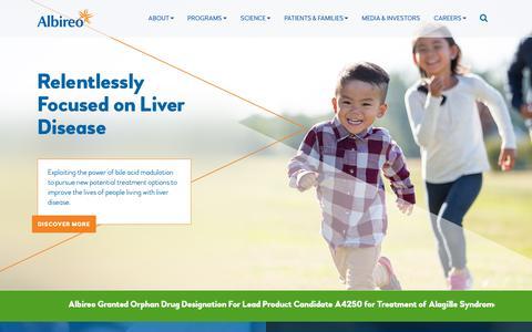 Screenshot of Home Page albireopharma.com - Albireo Pharma, Inc.   Clinical-Stage Biopharmaceuticals - captured Oct. 19, 2018