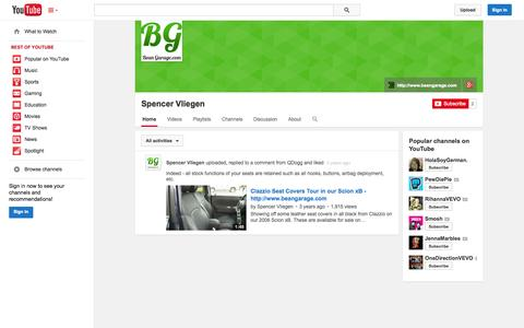 Screenshot of YouTube Page youtube.com - Spencer Vliegen  - YouTube - captured Oct. 23, 2014