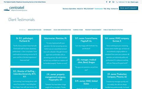 Screenshot of Testimonials Page centratel.com - Client Testimonials - Centratel - captured Sept. 27, 2018