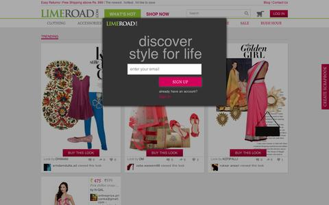 Screenshot of Home Page limeroad.com - Online Shopping India - Buy Women Clothes,Bags, Footwear & Accessories Online - LimeRoad.com - captured Sept. 10, 2014