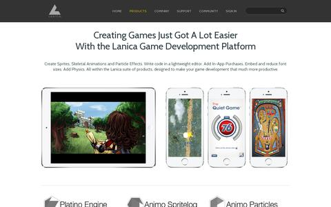 Screenshot of Products Page lanica.co - Products | Game Development Platform - captured July 19, 2014