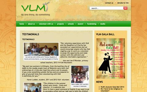 Screenshot of Testimonials Page vlm.ie - testimonials | Charity, Aid work, Africa - captured Oct. 7, 2014