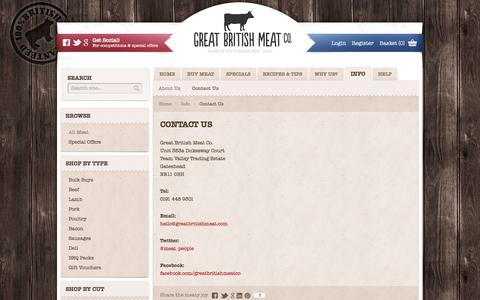 Screenshot of Contact Page greatbritishmeat.com - Contact Us | Great British Meat CO. - captured Oct. 3, 2014