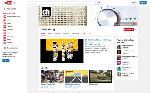 Screenshot of YouTube Page youtube.com - CBMarketing  - YouTube - captured Oct. 22, 2014