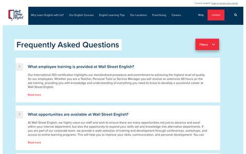 Screenshot of FAQ Page wallstreetenglish.com - FAQs Archive - Wall Street English - captured Nov. 21, 2017