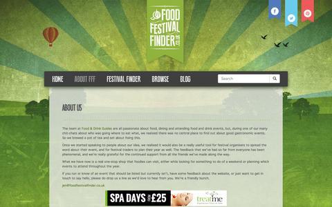 Screenshot of About Page foodfestivalfinder.co.uk - About Us | Food Festival Finder - captured Sept. 30, 2014
