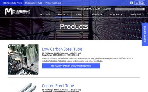 Screenshot of Products Page middletowntube.com - Products | Middletown Tube Works - captured Nov. 28, 2016