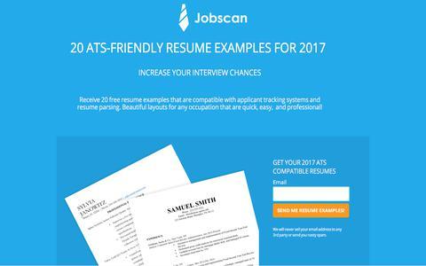 Screenshot of jobscan.co - 20 Best ATS Friendly Resume Examples - captured July 17, 2017