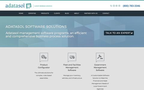 Screenshot of Products Page adatasol.com - Software Solutions from Adatasol Custom Database - captured July 29, 2018