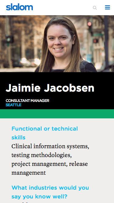 Screenshot of Team Page  slalom.com - Jaimie Jacobsen | Slalom