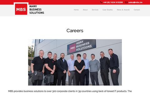 Screenshot of Jobs Page mbs.im - Careers - Manx Business Solutions - captured Oct. 2, 2018