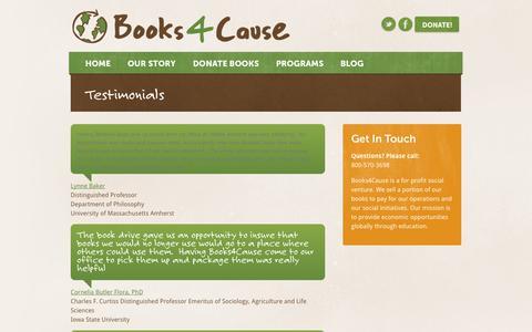 Screenshot of Testimonials Page books4cause.com - Testimonials - Books4Cause - Donate your books & change lives. - captured Oct. 5, 2014