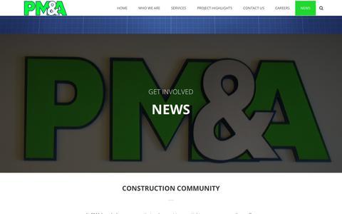 Screenshot of Press Page pmass.com - News - PM&A (P. Marshall & Associates) - captured July 12, 2017