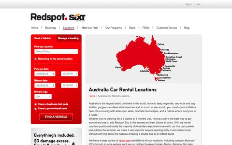 Screenshot of Locations Page redspot.com.au - Australia Car Rental Locations   Redspot Sixt - captured Oct. 26, 2014