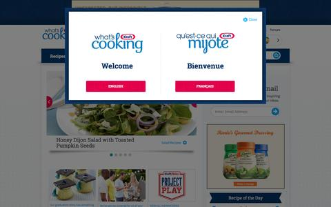 Screenshot of Home Page Menu Page kraftcanada.com - Recipes | Dinner,  Lunch & Breakfast Ideas | Easy Meals - Kraft Canada - captured June 21, 2016
