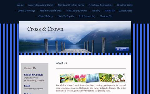 Screenshot of About Page crosscrown.net - About Us - Cross & Crown, an inspirational greeting card company - captured Sept. 30, 2014
