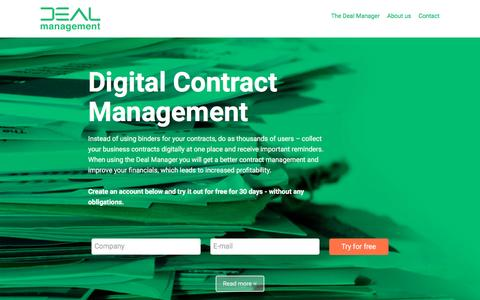 Screenshot of Home Page dealmanager.com - Deal Management | Contract Management and Procurement Management - captured Feb. 8, 2016