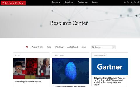 Screenshot of Case Studies Page aerospike.com - Resource Center | Benchmarks, Analyst ReportsAerospike - captured May 3, 2018