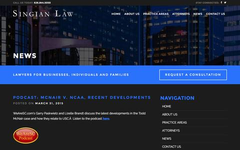 Screenshot of Press Page singianlaw.com - News – Singian Law - captured Aug. 13, 2016
