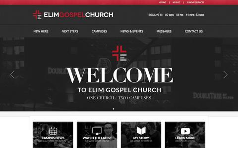 Screenshot of Home Page elimgospel.org - Elim Gospel Church | Welcome Home - captured Oct. 2, 2014