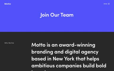 Screenshot of Jobs Page wearemotto.com - Careers | Creative Careers | Motto | Branding Agency - captured Sept. 28, 2018