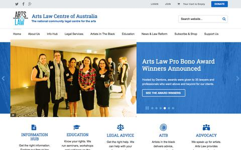 Screenshot of Home Page artslaw.com.au - Arts Law Centre of Australia - captured July 7, 2017