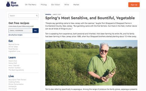 Screenshot of blueapron.com - Spring's Most Sensitive, and Bountiful, Vegetable | Blue Apron Blog - captured June 22, 2017