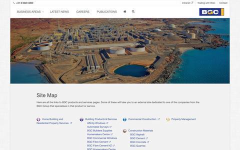 Screenshot of Site Map Page bgc.com.au - BGC Site Map - BGC Corporate - captured Oct. 4, 2018