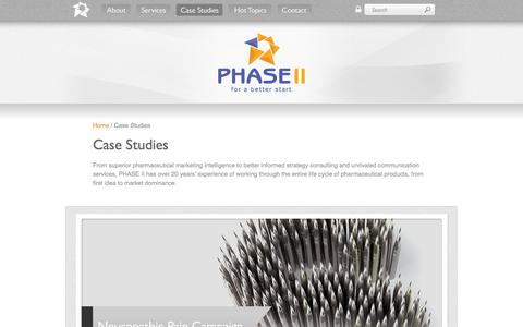 Screenshot of Case Studies Page phase-ii.com - Case Studies - PHASE II - The full service medical marketing specialists - captured Sept. 29, 2014