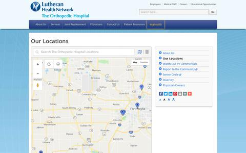 Screenshot of Contact Page Maps & Directions Page theorthohospital.com - About Us / Locations / The Orthopedic Hospital / Lutheran Health Network / Ft. Wayne, Indiana - captured Oct. 21, 2018