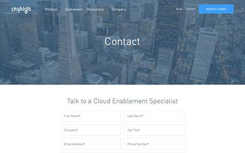 Screenshot of Contact Page skyhighnetworks.com - Contact | Skyhigh - captured Jan. 20, 2017