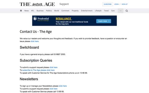 Screenshot of Contact Page Support Page theage.com.au - Contact The Age | Customer Service & The Age Subscriptions - captured Aug. 18, 2016