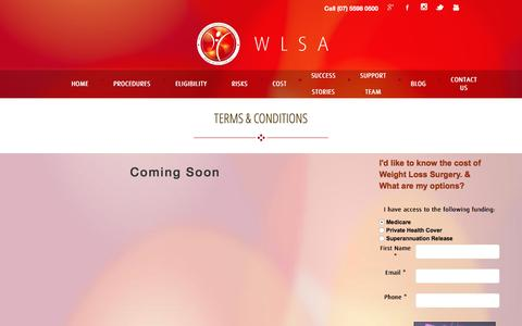 Screenshot of Terms Page wlsa.com.au - Terms & Conditions | Gold Coast & Brisbane | WeightLoss Solutions Australia - captured Feb. 14, 2016