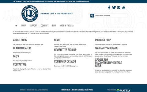 Screenshot of Support Page rossreels.com - Support Central - captured Sept. 19, 2014