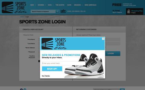 Screenshot of Login Page sportszoneelite.com - Create New Customer Account - captured Jan. 14, 2016