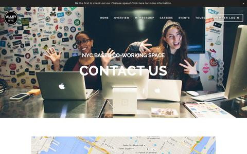Screenshot of Contact Page alleynyc.com - Contact Ń AlleyNYC - The Most Badass Coworking Space on the Planet - captured Dec. 24, 2015