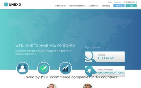 Screenshot of Signup Page unbxd.com - Product Recommendations & Site Search for Ecommerce Companies | Unbxd - captured Nov. 5, 2014