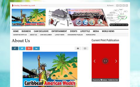 Screenshot of About Page caribbeanamericanweekly.com - About Us | Caribbean American Weekly Newspaper - captured Nov. 4, 2018