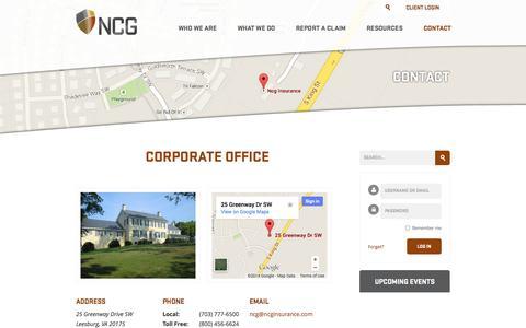 Screenshot of Contact Page ncginsurance.com - Contact | NCG Insurance - captured Oct. 29, 2014