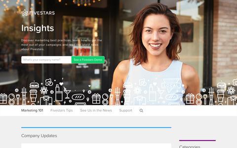 Screenshot of Blog fivestars.com - Get Marketing Tips | Fivestars Insights - captured Feb. 14, 2018