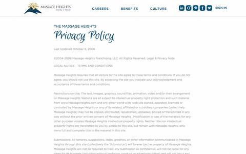 Privacy Policy| Massage Heights Careers