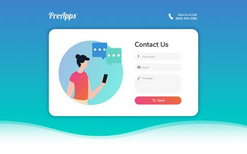 Screenshot of Contact Page preapps.com - PreApps - iPhone, iPad, Android, Mac, Windows Apps | Contact US - captured Nov. 27, 2019