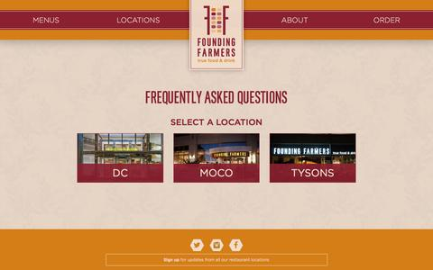 Screenshot of FAQ Page wearefoundingfarmers.com - FAQs: Your Questions Answered | Founding Farmers - captured Feb. 9, 2016