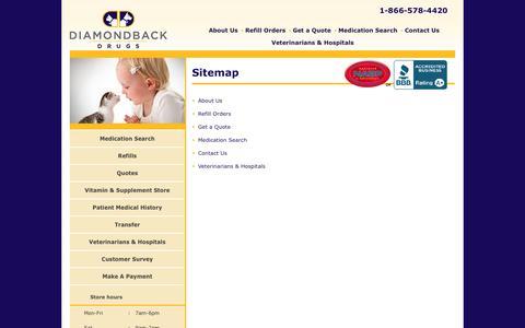 Screenshot of Site Map Page diamondbackdrugs.com - Sitemap - captured Sept. 30, 2014