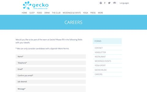 Screenshot of Jobs Page geckobeachclub.com - Hotel Gecko Beach Club Formentera - Careers - captured July 11, 2016