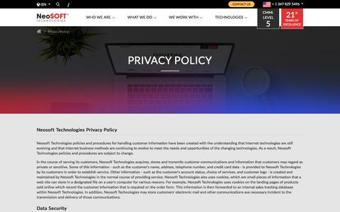 Screenshot of Privacy Page neosofttech.com - Privacy Policy | NeoSOFT Technologies - captured Sept. 22, 2018