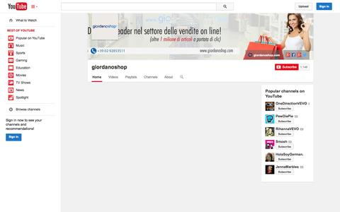 Screenshot of YouTube Page youtube.com - giordanoshop  - YouTube - captured Oct. 23, 2014