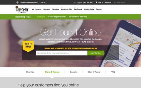 Screenshot of Pricing Page godaddy.com - Local Internet Marketing   Get Your Business Online – GoDaddy - captured Sept. 13, 2014