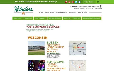 Screenshot of Locations Page reinders.com - Reinders, Inc. - captured Feb. 24, 2016