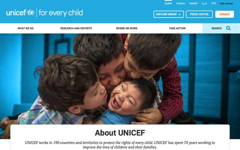Screenshot of About Page unicef.org - About UNICEF | UNICEF - captured May 19, 2018